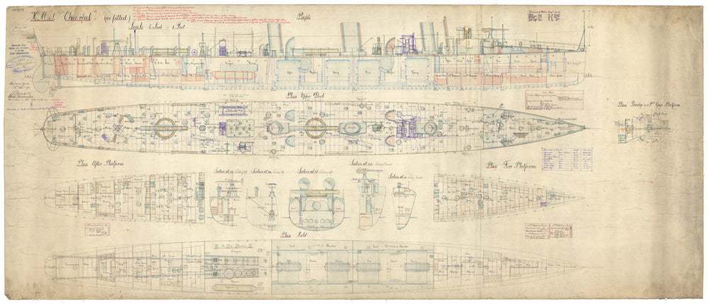Inboard profile, decks and sections for HMS Cheerful (1897)