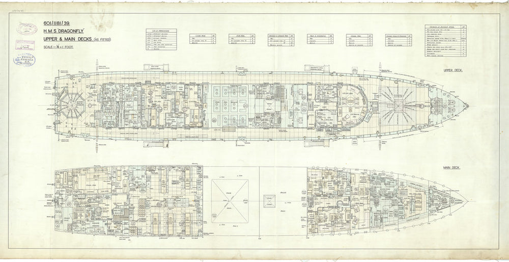 Upper and main deck plan for Dragonfly class of 1938
