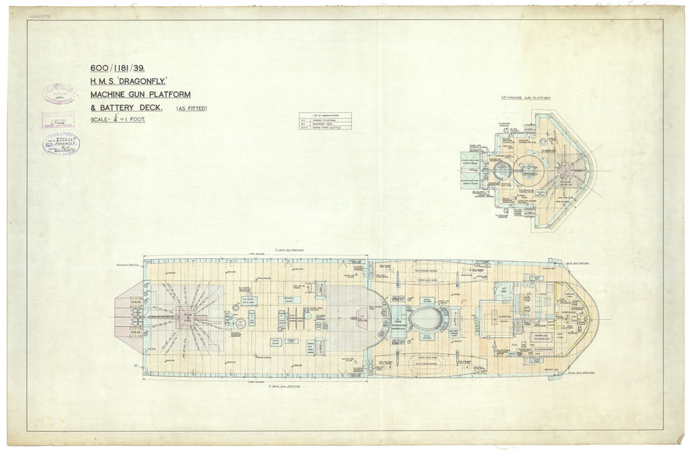 Battery deck plan for Dragonfly class of 1938