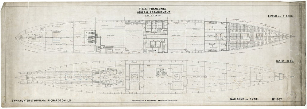 Lower deck & hold plan for 'Franconia' (1911)