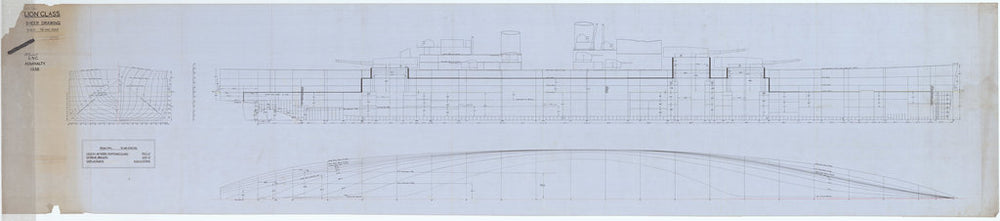 Lines, body & half breadth plans for HMS Lion (cancelled 1940) from 1938