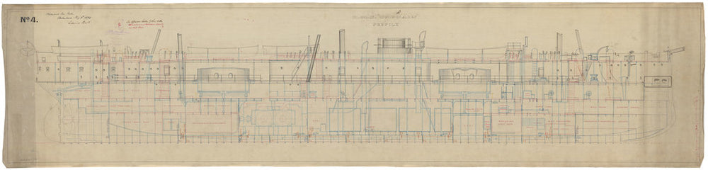 Inboard profile plan for HMS Captain (1869)