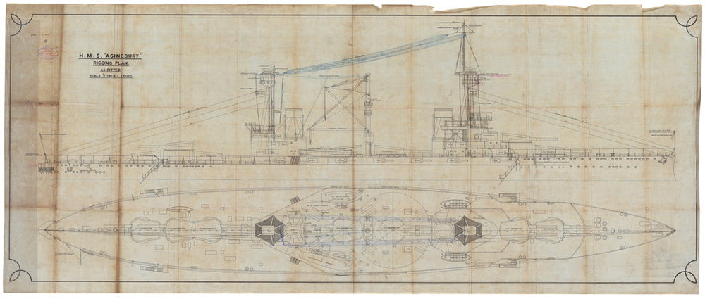 Rigging plan, general arrangement for HMS 'Agincourt' (1913)