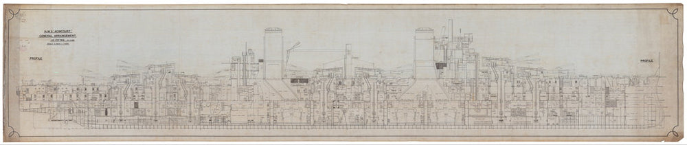 Inboard profile plan for HMS 'Agincourt' (1913)