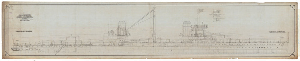 Elevation of Topsides (profile) for HMS 'Agincourt' (1913)