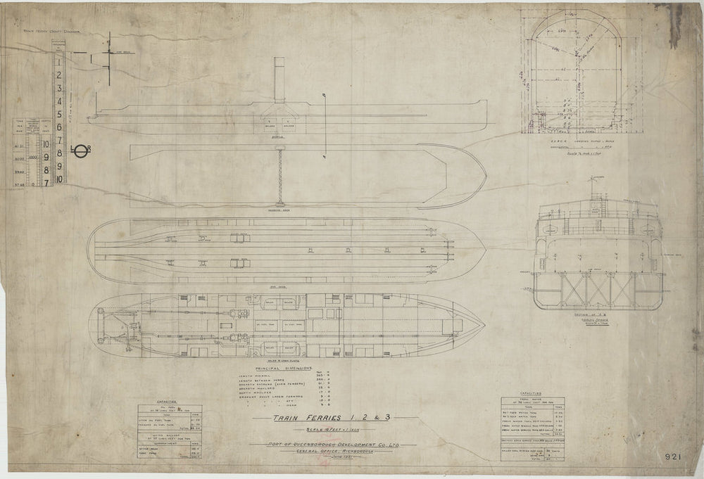 Outline profile, decks & sections for Train Ferry No. 1, 2, 3