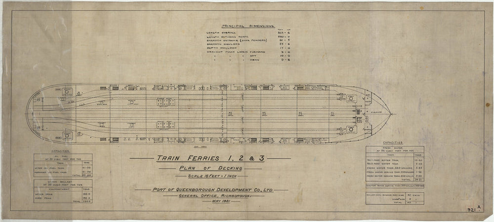 Plan of decking & capacities for Train Ferry No. 1, 2, 3