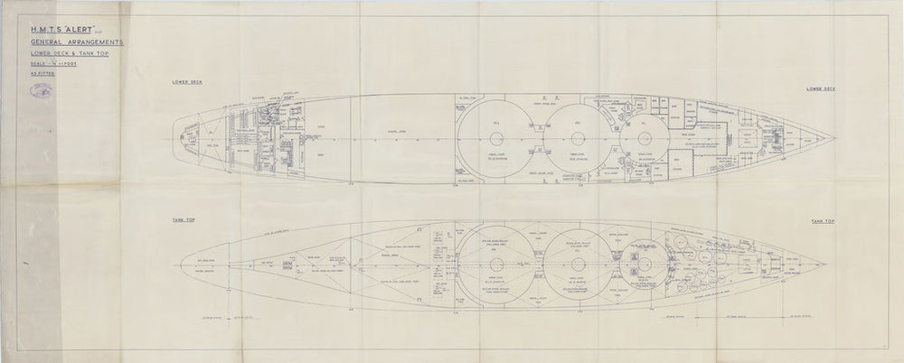 General arrangement plan for lower deck & tank tops of HM Telegraph Ship (Cableship) Alert (1961), as fitted 1961