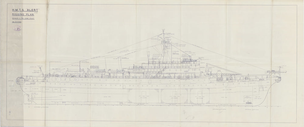 Rigging plan for HM Telegraph Ship (Cableship) Alert (1961), as fitted 1961