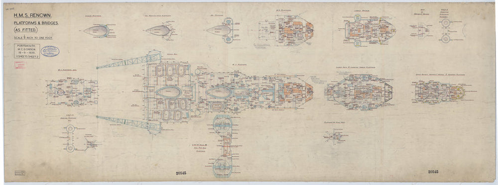 Platforms & bridges plan of Renown (1916), as fitted 1940