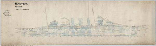 Inboard profile plan for HMS 'Exeter' (1928)