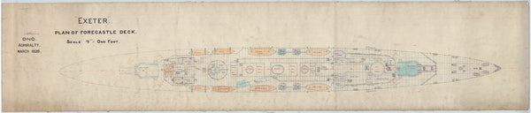Forecastle deck plan for HMS 'Exeter' (1928)