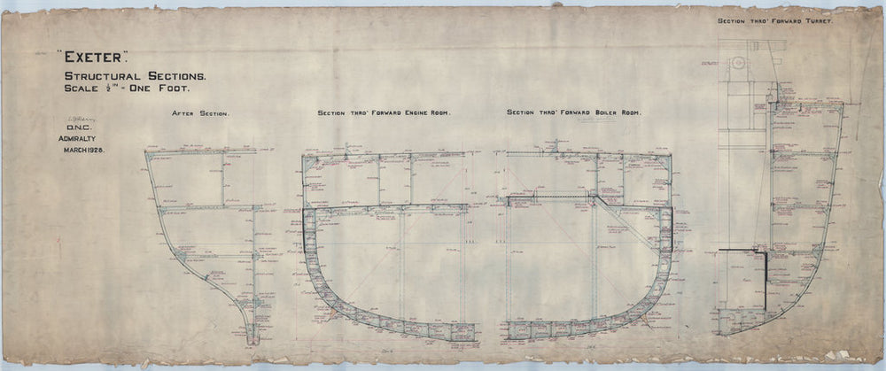 Structural sections plan for HMS 'Exeter' (1928)