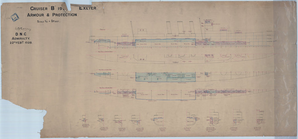Arrangement of armour plan for HMS 'Exeter' (1927)