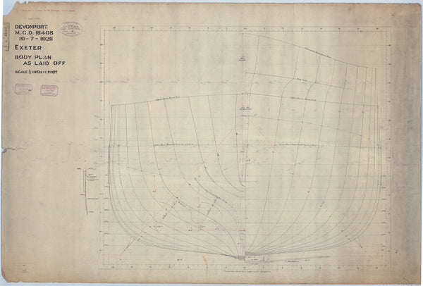 Body plan for HMS 'Exeter' (1928), as laid