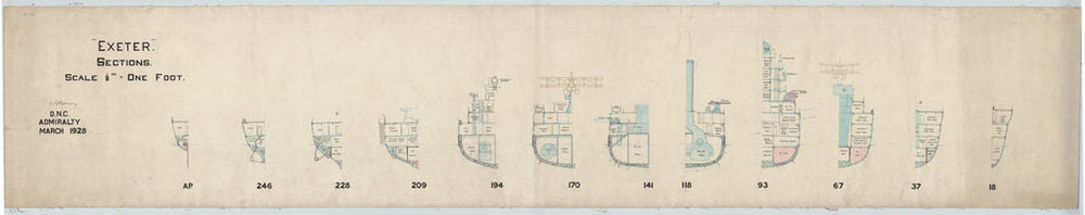 Sections plan for HMS 'Exeter' (1928)