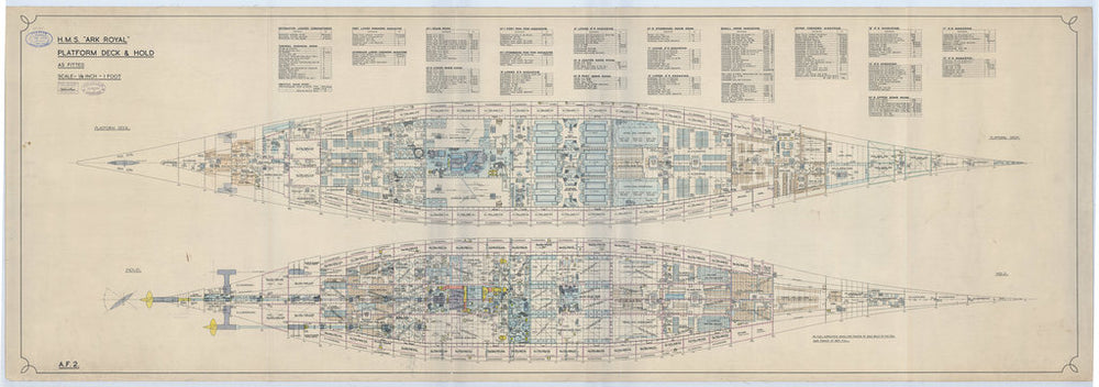 Platforms decks & hold plan for HMS Ark Royal (1937)