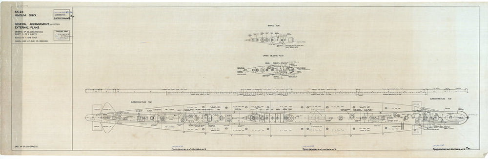 General arrangement external plan (as fitted) for HMS/M Onyx (1968)