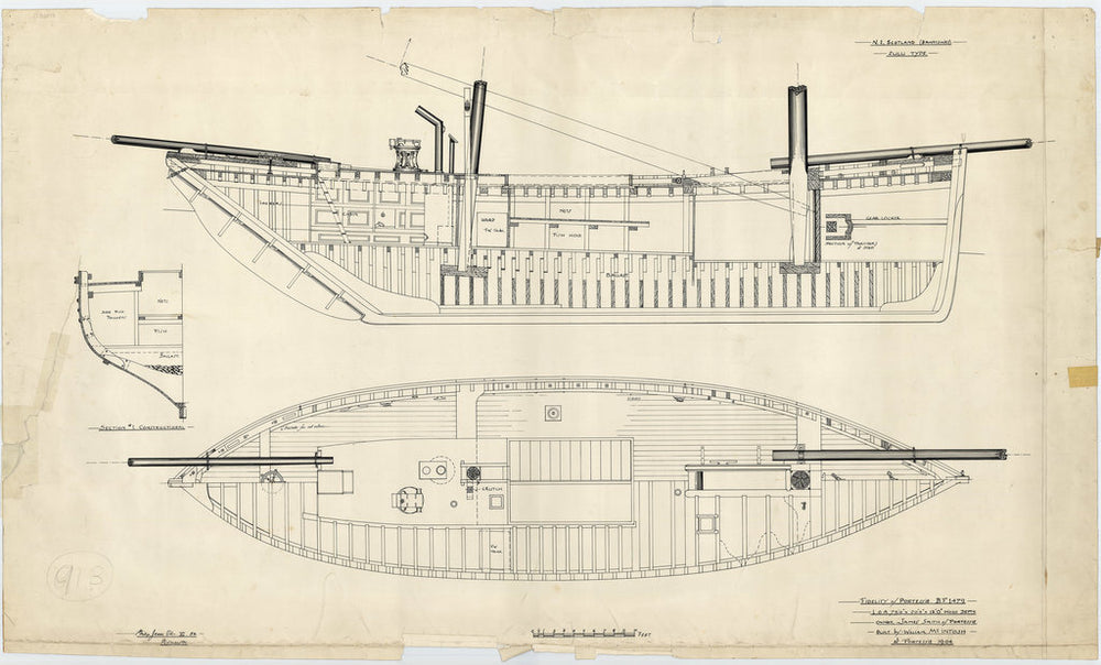 Inboard profile, midships section and deck plan of Fidelity (1904), a Scottish Zulu