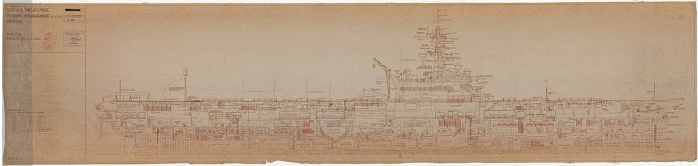 Inboard profile plan of HMAS Melbourne (completed 1955), as fitted 1956
