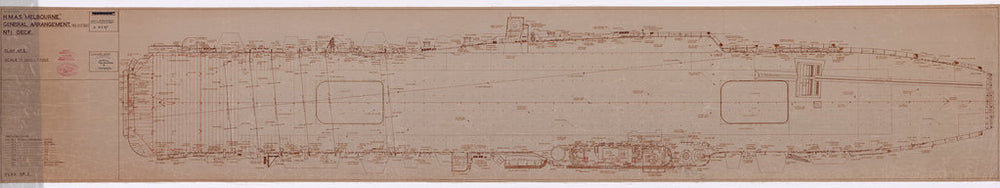 No. 1 [Flight] deck plan of HMAS Melbourne (completed 1955), as fitted 1956