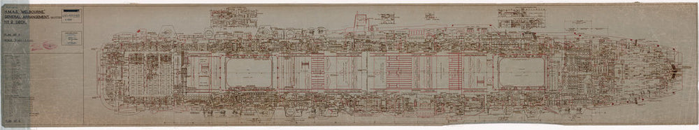 No. 2 [Gallery] deck plan of HMAS Melbourne (completed 1955), as fitted 1956