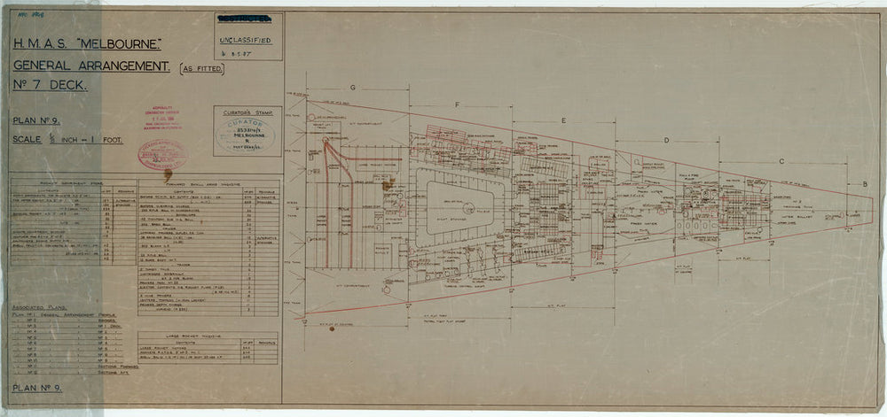 No. 7 [Platforms in hold] deck plan of HMAS Melbourne (completed 1955), as fitted 1956