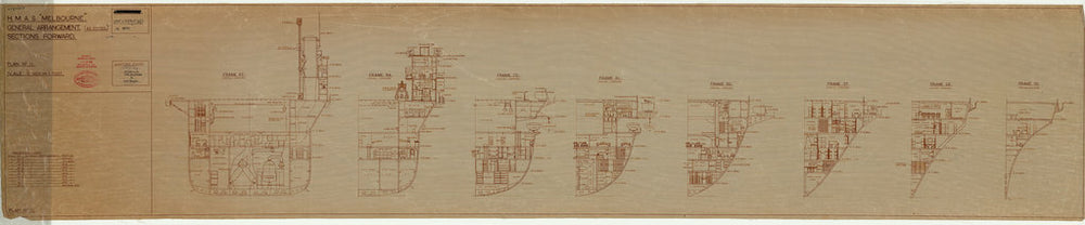 Forward section plan of HMAS Melbourne (completed 1955), as fitted 1956