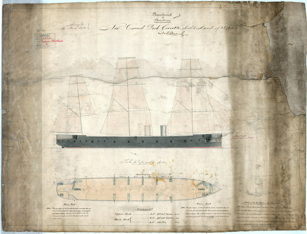 Profile and main deck plan for 'Bacchante' and 'Boadicea' (1875)