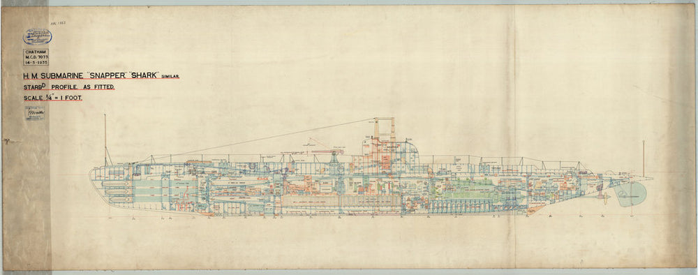 Starboard profile plan for HMS 'Snapper' (1934)