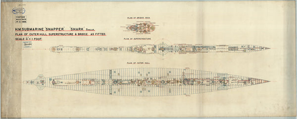Plan of outer hull, superstructure and bridge as fitted for HMS 'Snapper' (1934)