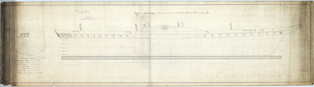 Lines, profile, half breadth and body plan for Royal Yacht 'Osborne' (1870)