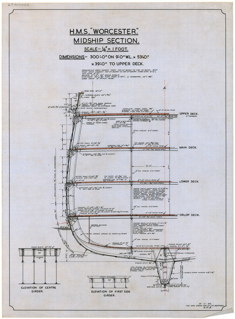 Plan showing the midship section illustrating the plating and girder details for HMS 'Worcester' (1904), a training ship loaned to the Thames Nautical Training College by the Admiralty and based at Greenhithe between 1946 and 1978.
