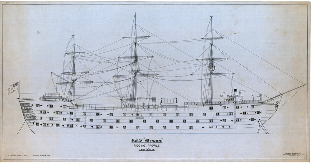 Plan showing the rigging profile with outboard detail for HMS 'Worcester' (1904), a training ship loaned to the Thames Nautical Training College by the Admiralty and based at Greenhithe between 1946 and 1978.
