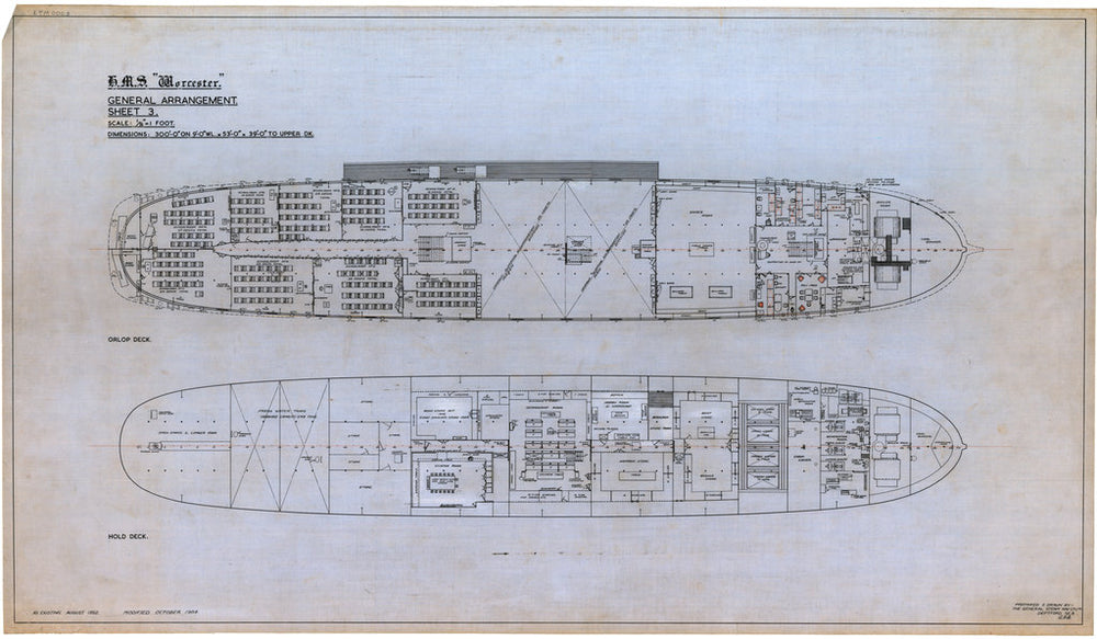 Plan showing the orlop deck and hold deck, illustrating the layout of rooms for HMS 'Worcester' (1904), a training ship loaned to the Thames Nautical Training College by the Admiralty and based at Greenhithe between 1946 and 1978