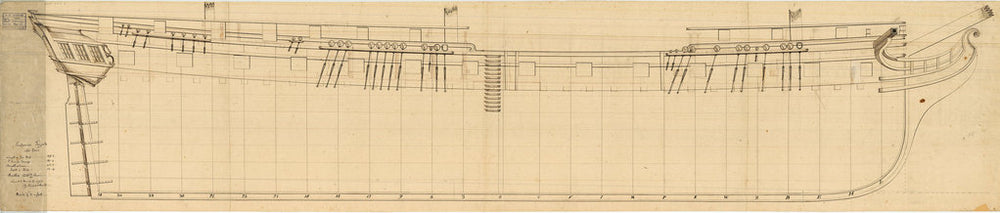 Sheer lines plan for 'Endymion' (1797)
