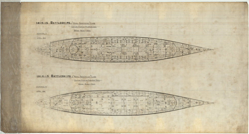Middle & lower deck plan for Royal Sovereign class of 1914-1915 (not built)