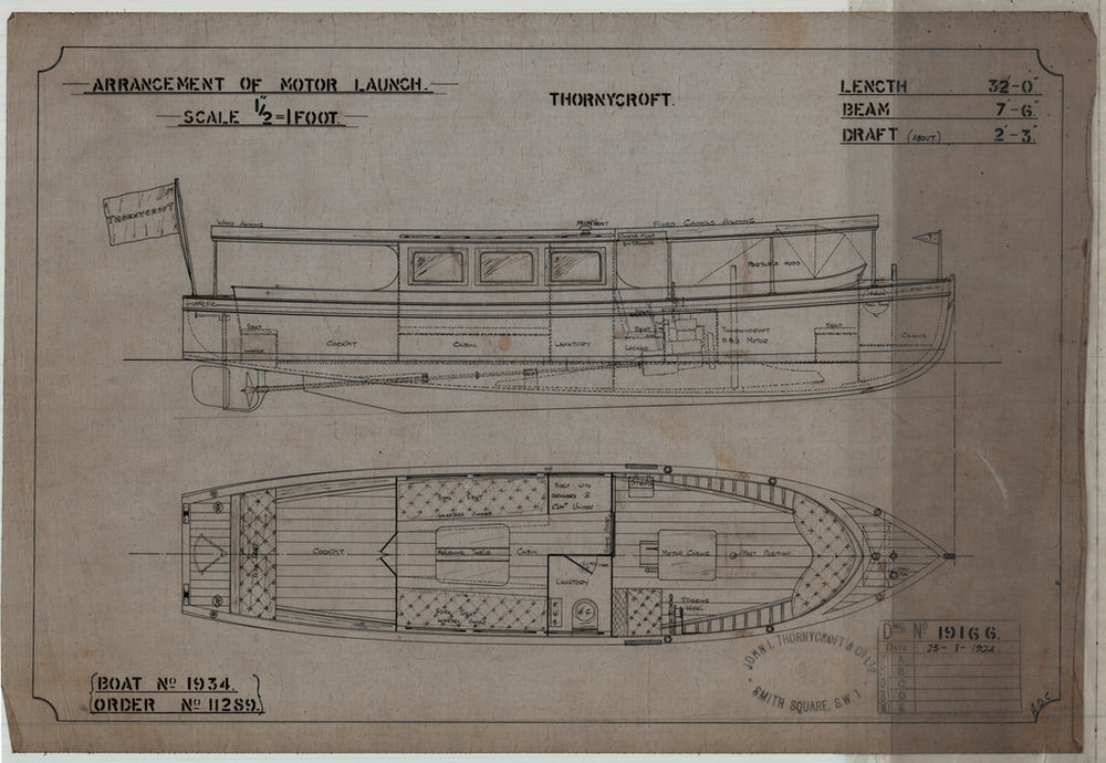 19166 Inboard profile & plan view as fitted, for 'Nereid' (1924)