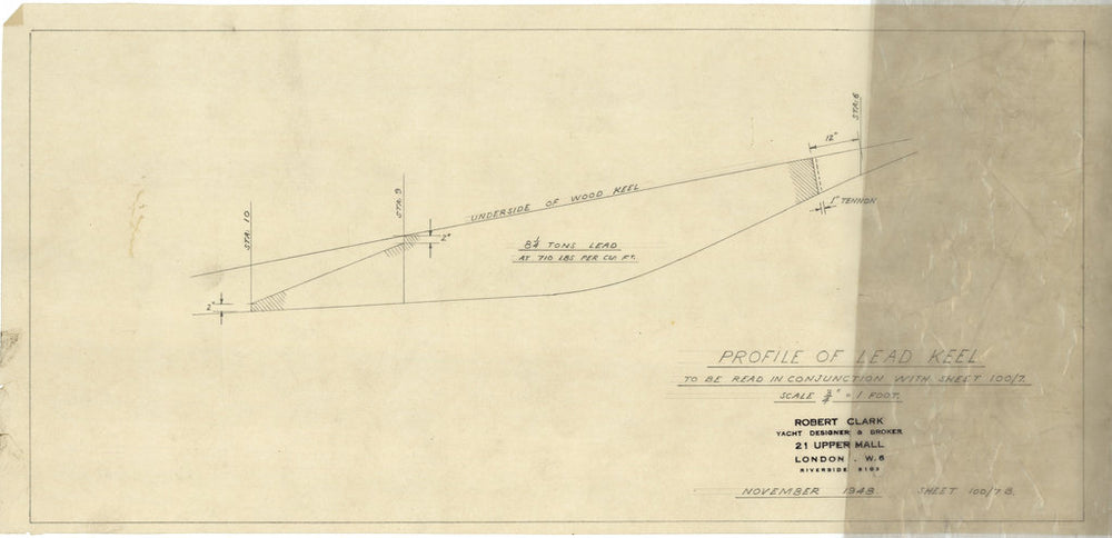 Profile of lead keel for 'South Winds' (1950)