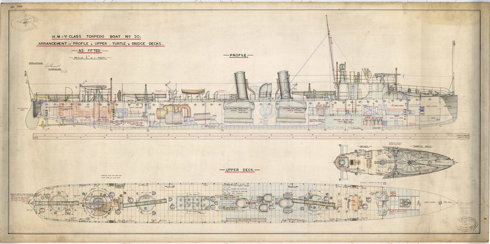 Profile and upper deck plan for Torpedoboat No. 30