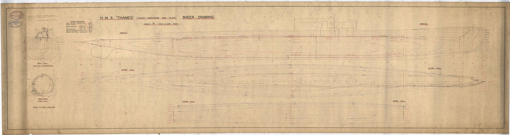 Lines plan of 'River' class (1932-34) submarines - 'Thames'