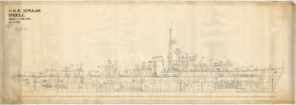 Profile plan as fitted for HMS 'Verulam'