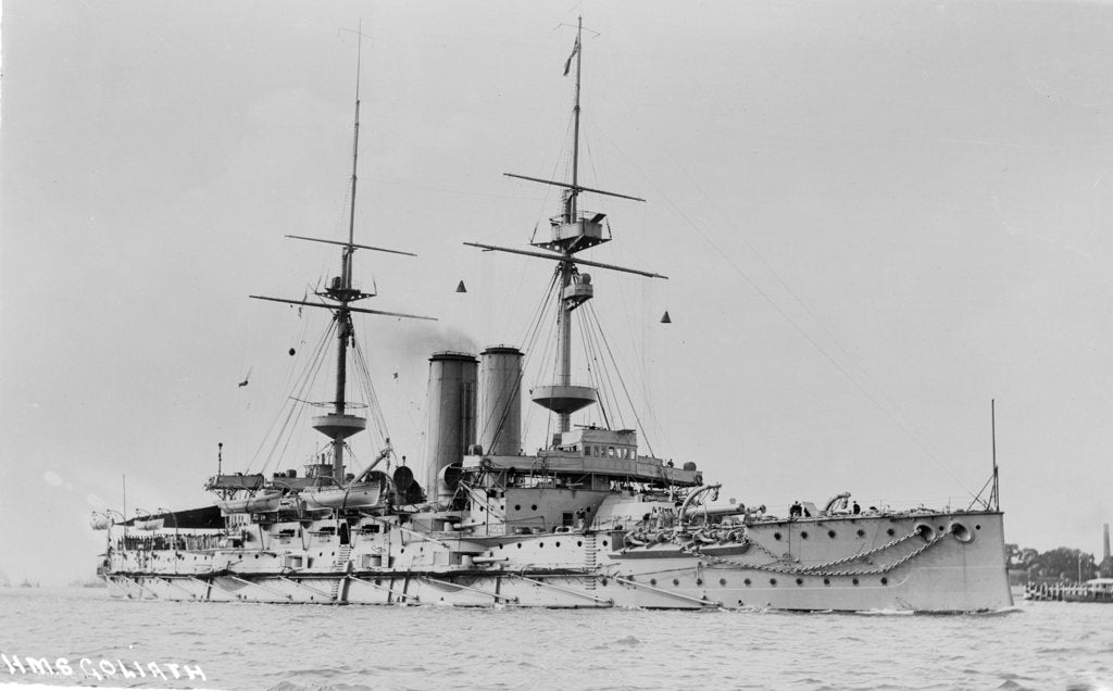 Detail of Battleship HMS 'Goliath' (1898) by unknown