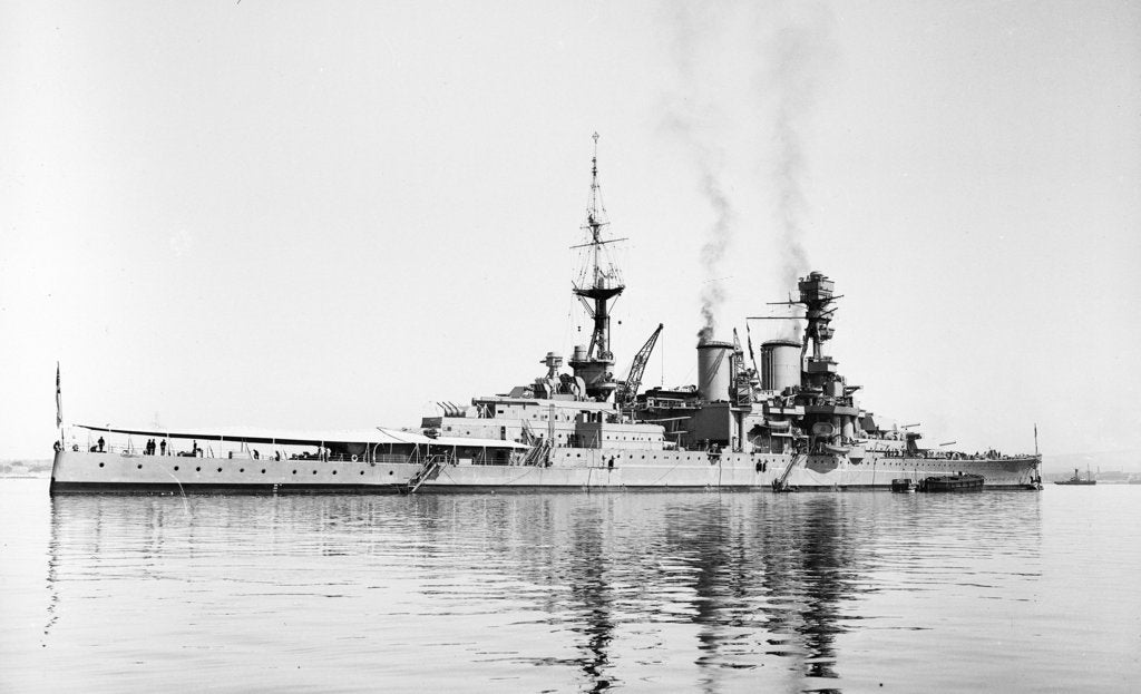 Detail of Photograph of battlecruiser HMS 'Repulse' (1916), a starboard quarter view, circa 1939 by unknown