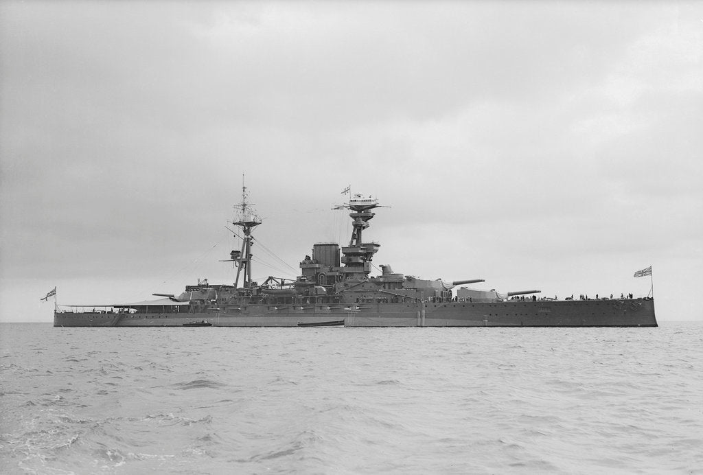 Detail of HMS 'Royal Oak' (1914), starboard beam view by unknown