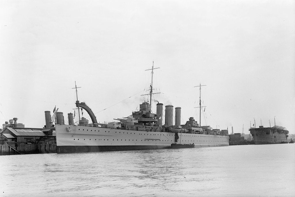 Detail of Heavy cruiser HMS 'Berwick' (1926) at anchor by unknown