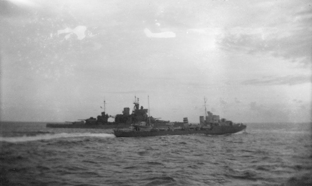 Detail of Destroyer HMS 'Hereward' (1936) with HMS 'Valiant' by unknown