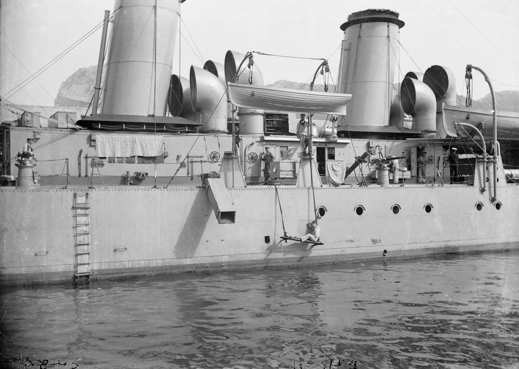 Detail of Scout cruiser HMS 'Skirmisher' (1905) close up amidships by unknown