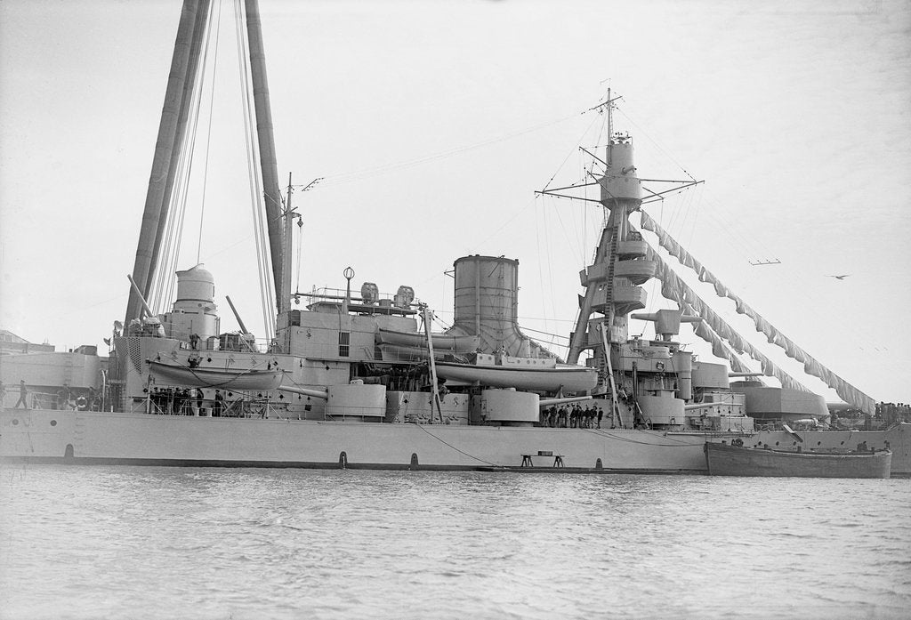 Coast defence battleship 'Gustaf V' (Swe, 1918) close-up amidships by unknown