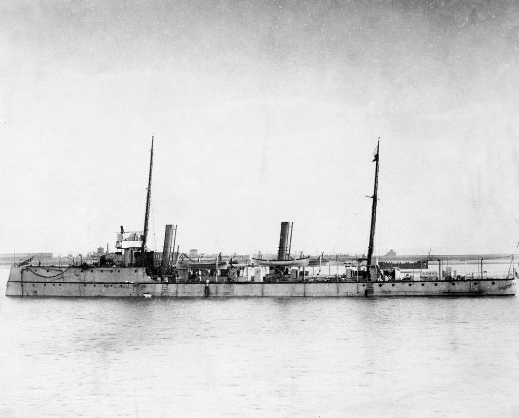 Detail of Torpedo gunboat HMS 'Plassey' (1890) anchored at Sheerness by unknown